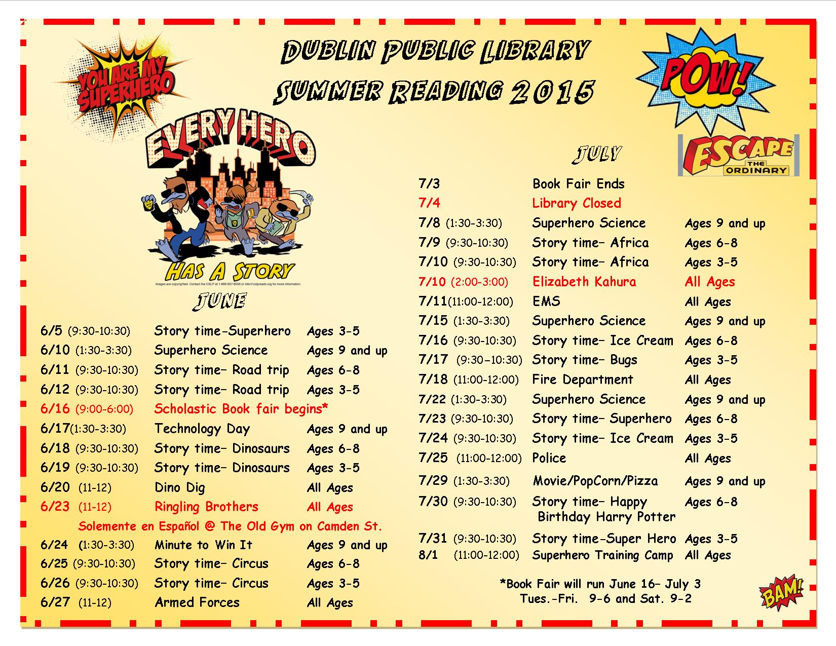 Summer Reading Schedule